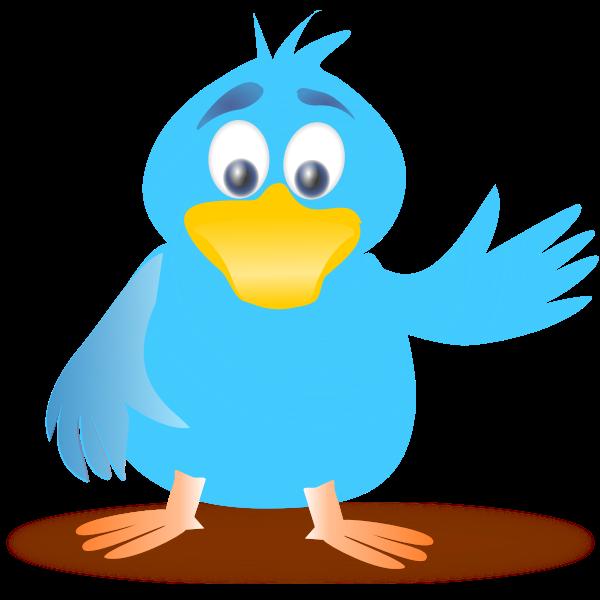 Clip art of blue bird waving its wing