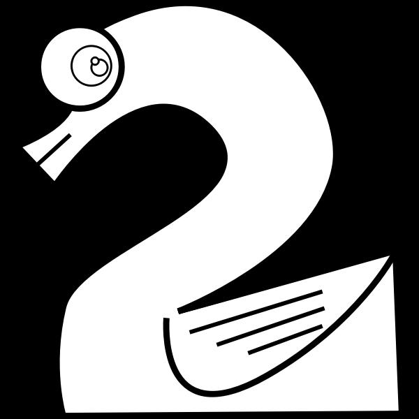 Swan number two line art vector image