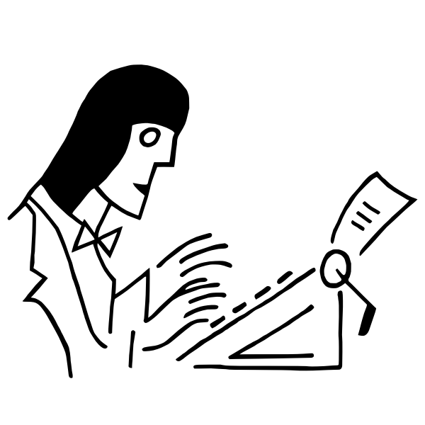 Drawing of woman working on a typewriter