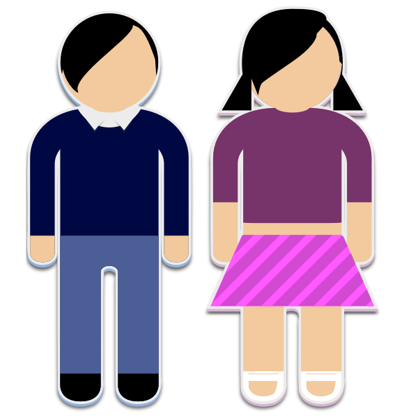 Boy and a girl sticker pictograms vector graphics