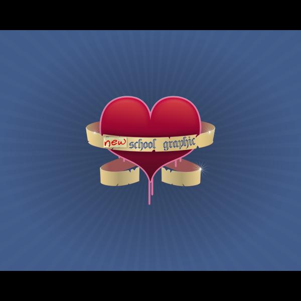 Big heart with ribbon vector image