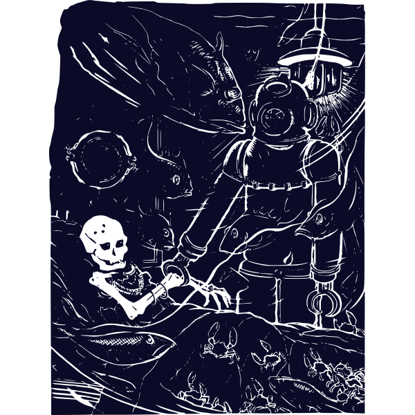 Vector drawing of skeleton discovery in the shipwreck