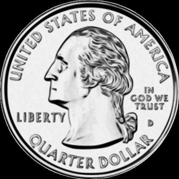 US quarter Dollar coin vector drawing