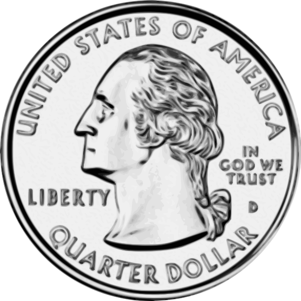 US quarter Dollar coin vector drawing