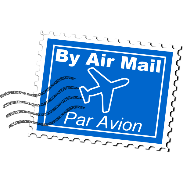 By air mail postal stamp vector illustration