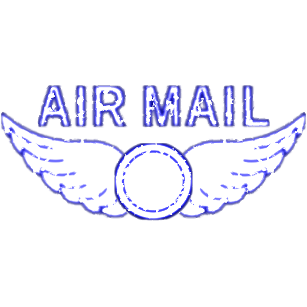 Vector drawing of air mail rubber stamp imprint