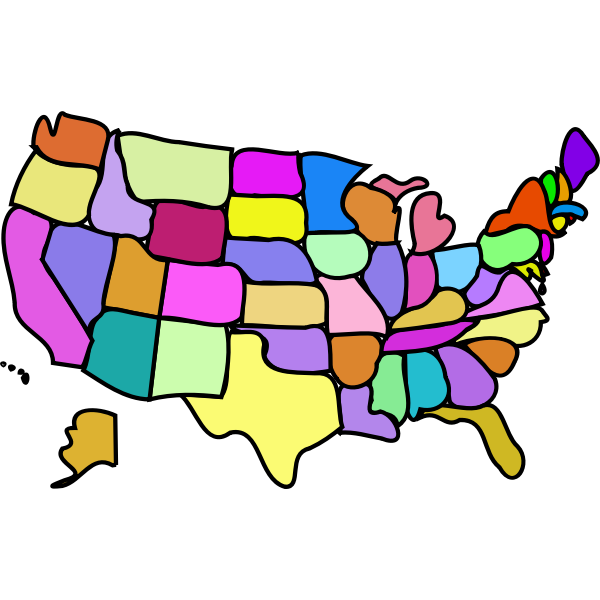 Map of USA without legend vector image