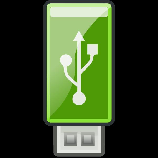 Vector clip art of small green USB stick