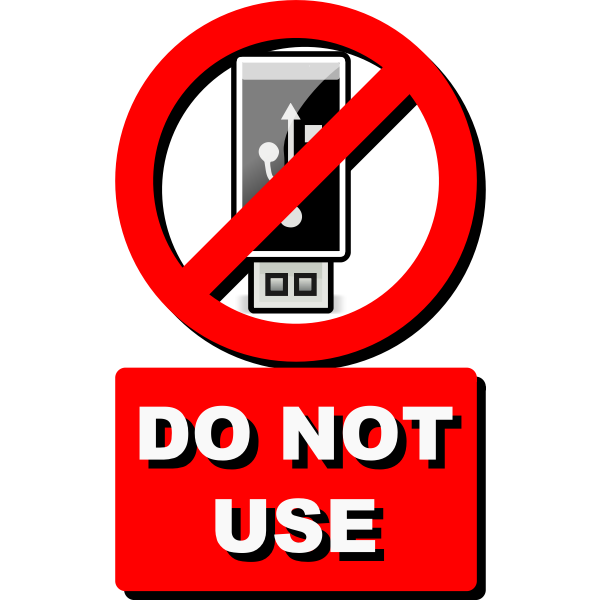 Vector clip art of do not USE USB stick label