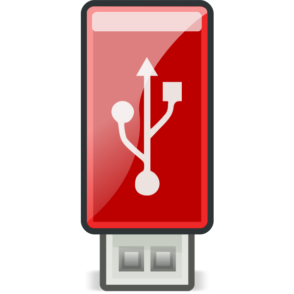 Vector illustration of small flashy red USB stick