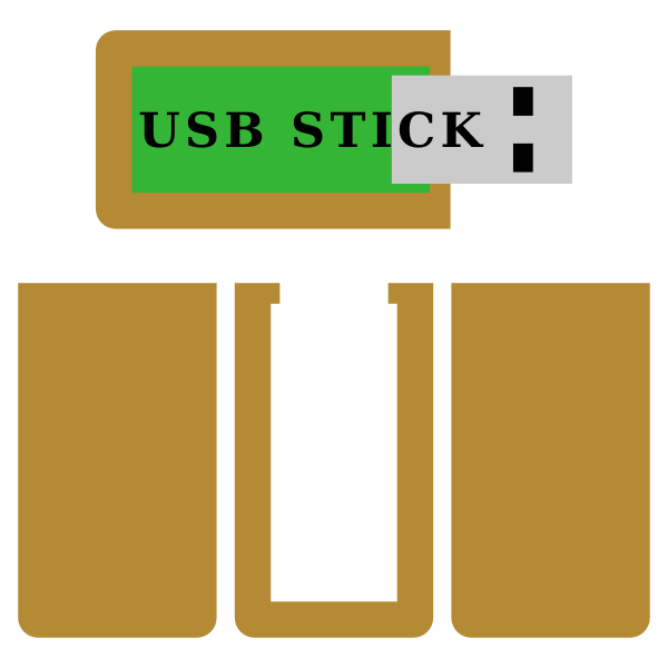 Vector image of wooden USB stick