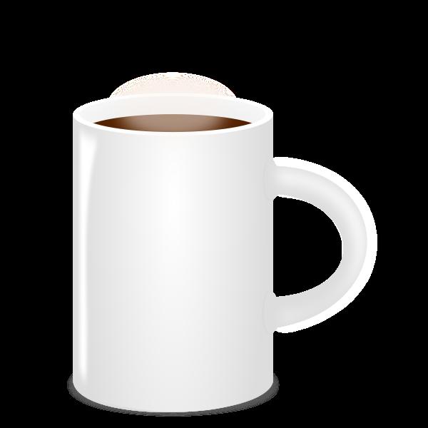 Vector image of white mug full of coffee