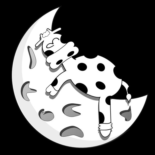 Vector drawing of lamb sleeping on half moon