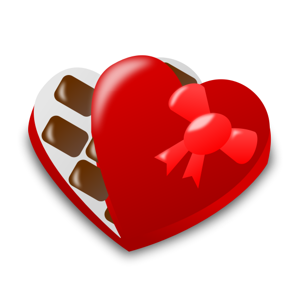 Vector illustration of red heart shaped chocolate box half open