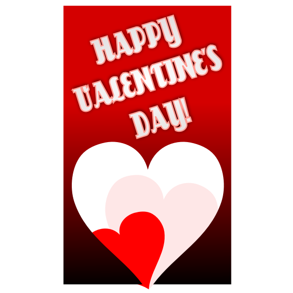 Valentine's day red themed greeting card vector drawing