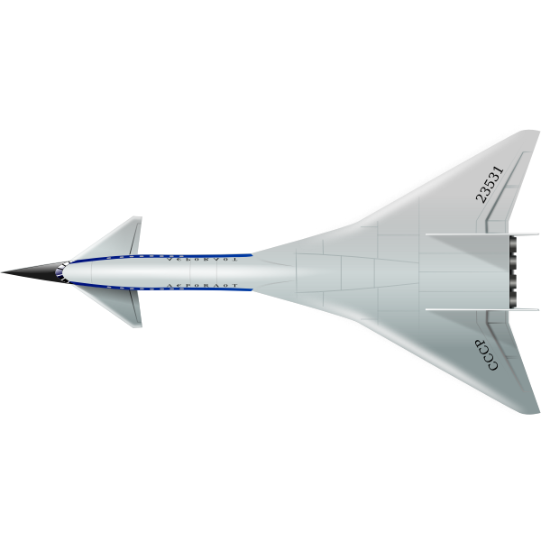 Top view of supersonic aircraft vector clip art