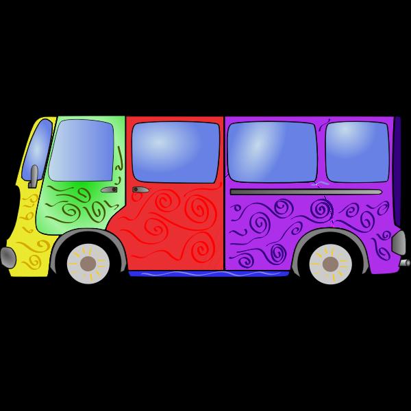 Hippie Van Vector Clip Art