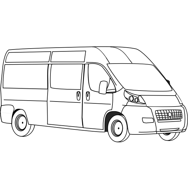 Van line art vector illustration