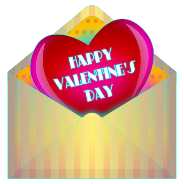 Valentines Day card in envelope vector drawing
