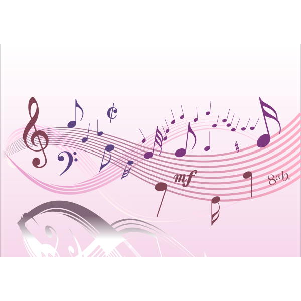 Winding musical notes vector image