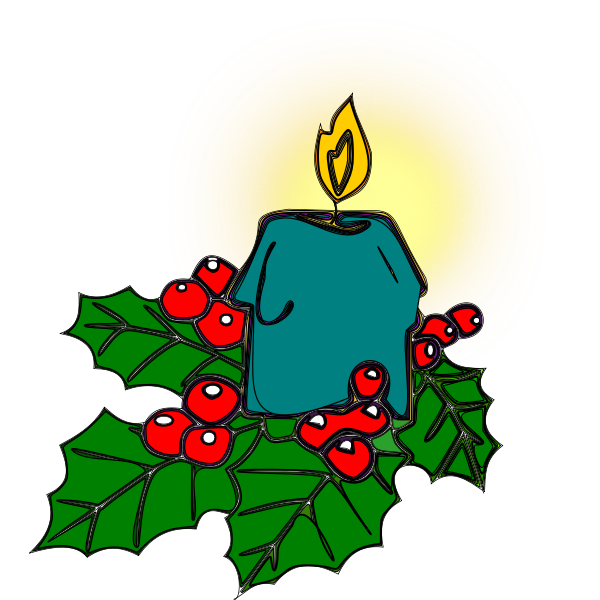 Holly and candle