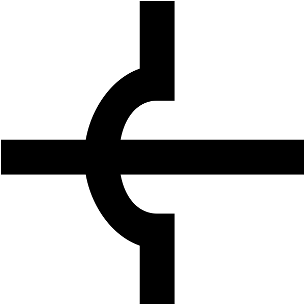 Vector image of unjoined crossing of electronic wires symbol