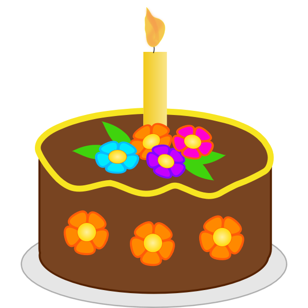 Vector illustration of chocolate flowers birthday cake
