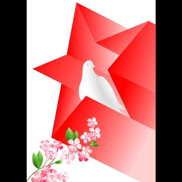 Dove in star Soviet poster vector illustration