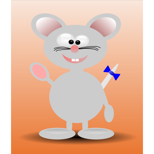 Vector illustration of happy cartoon mouse standing with orange background