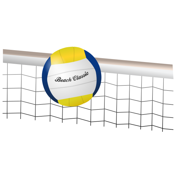 Vector image volleyball net and ball