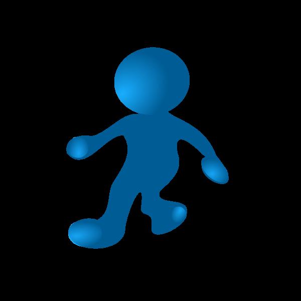 Blue character walking vector drawing