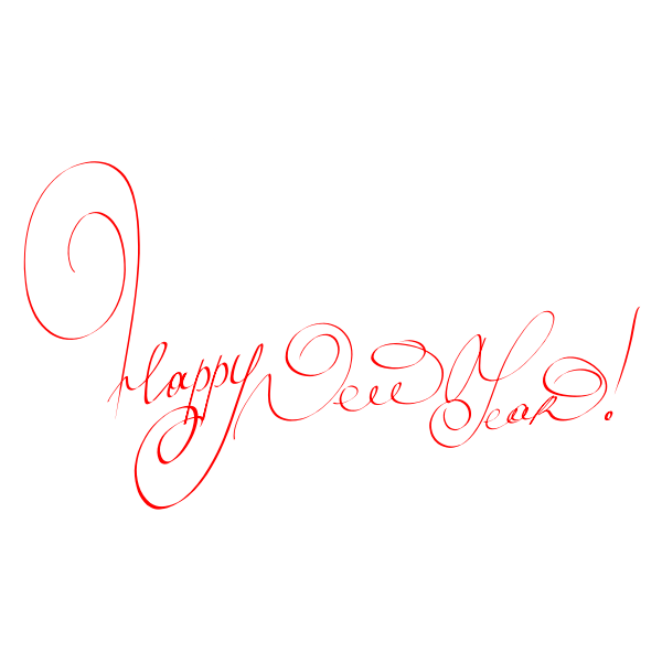 Happy new year in handwritten letters vector image