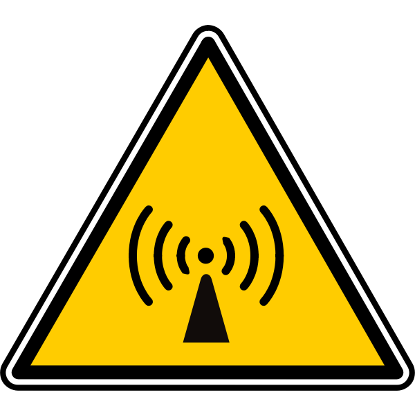 Vector image of triangular radio signal warning sign