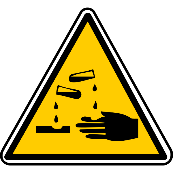 Vector drawing of triangular acid burns warning sign