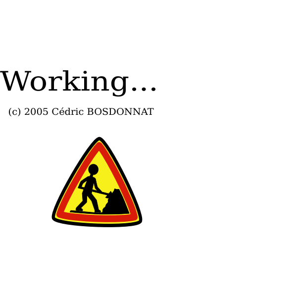 Vector drawing of working sign for a computer process