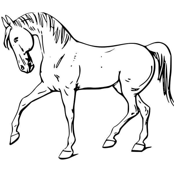 Walking horse line art vector drawing
