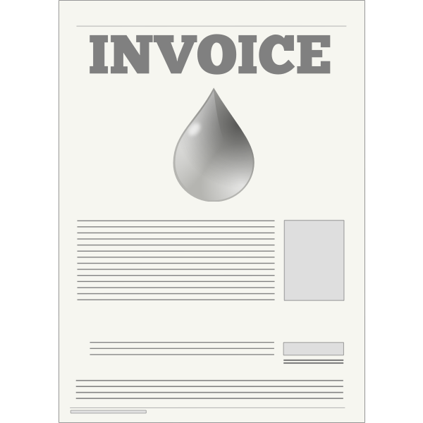 Water company invoice vector illustration