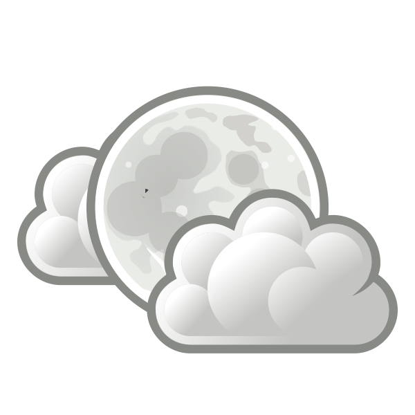 Color weather forecast icon for light clouds at night vector clip art