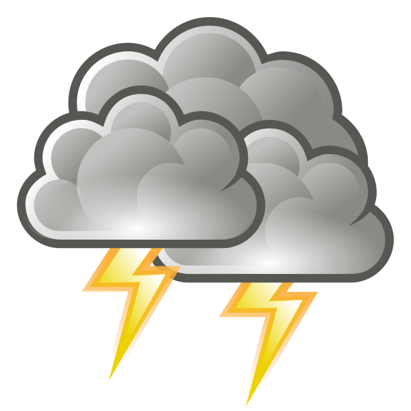 Color weather forecast icon for thunder vector clip art