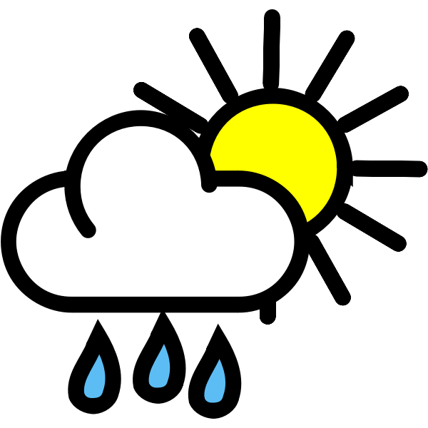 Vector drawing of rain with sunny periods weather color map symbol