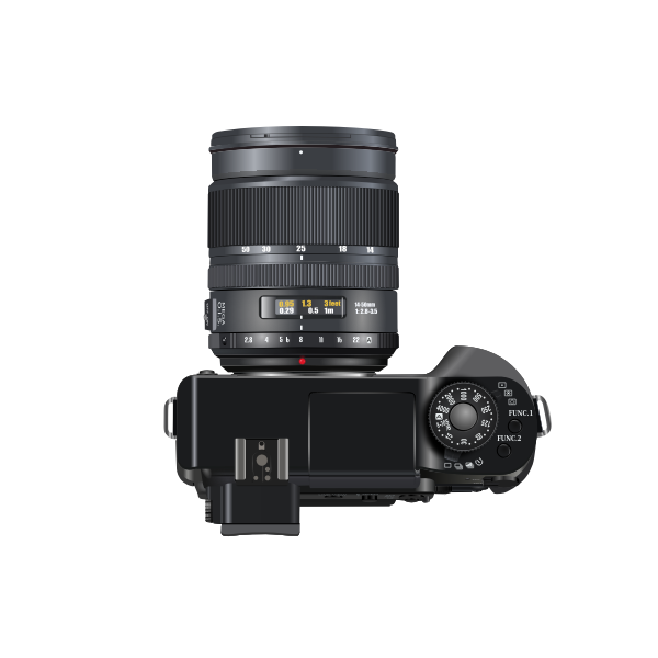 Photorealistic vector drawing of a professional camera