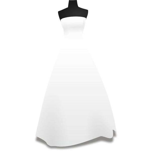 White wedding dress on a stand vector image