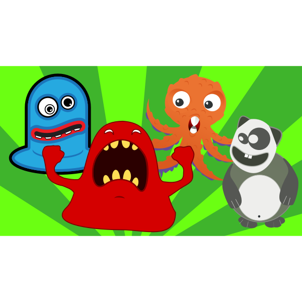 Weir monsters party vector image