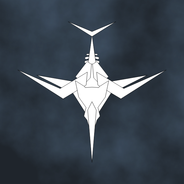 Vector drawing of spiky aircraft on black background