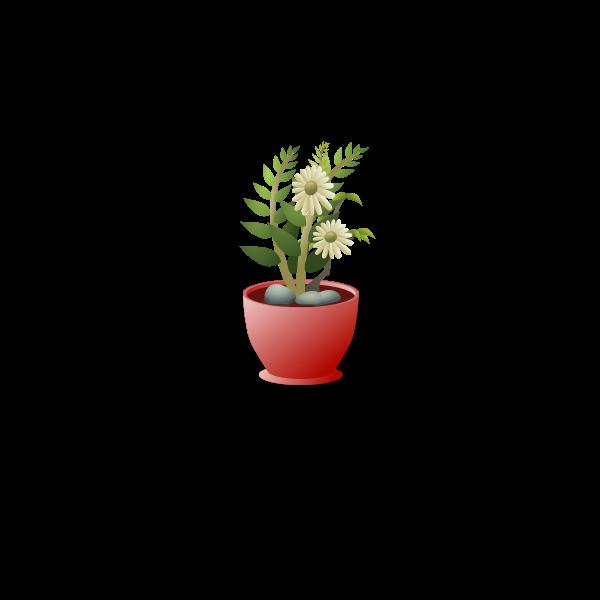 White flower pot