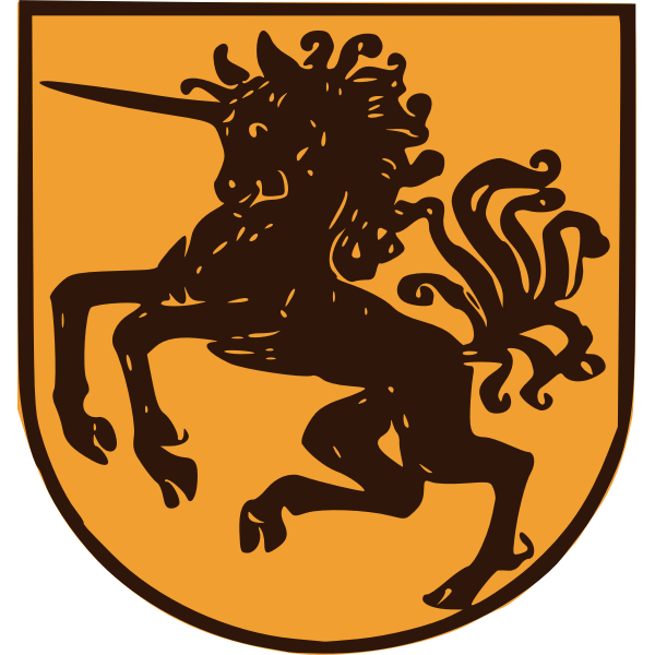 Wild unicorn shield vector graphics