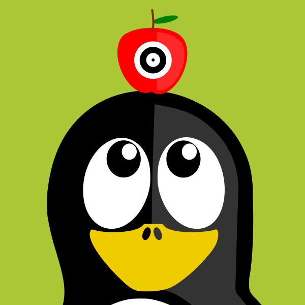 Penguin with apple on head vector illustration