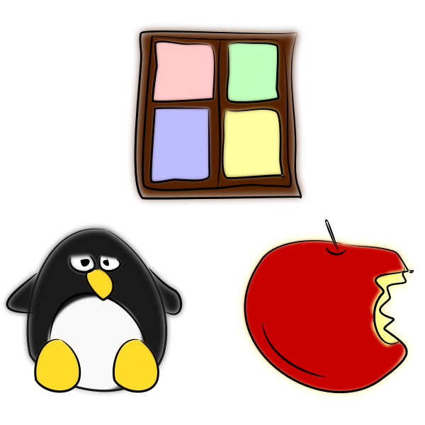 Window, penguin and apple