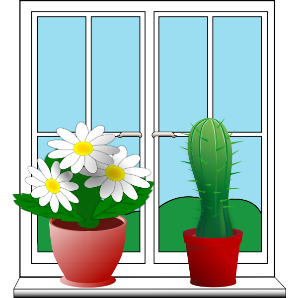 Clip art of window with two potted plants