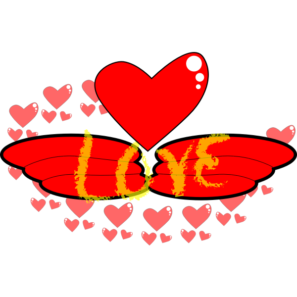 Vector clip art of wings of love